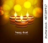abstract glowing happy diwali... | Shutterstock .eps vector #487289917