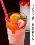 close up of glass of frozen...   Shutterstock . vector #487292473