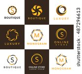 luxury logo set. a collection... | Shutterstock .eps vector #487296613