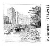 pencil drawing of a big modern... | Shutterstock . vector #487319653