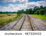 railroad track in rural carroll ... | Shutterstock . vector #487320433