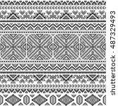 ethnic seamless monochrome... | Shutterstock .eps vector #487329493