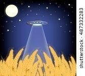 vector illustration of a ufo at ... | Shutterstock .eps vector #487332283