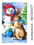 christmas card with snowman and ... | Shutterstock . vector #487334377
