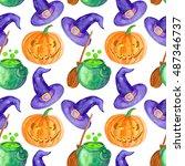 watercolor halloween background  | Shutterstock . vector #487346737