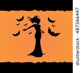 witch flying with bats vector... | Shutterstock .eps vector #487366447