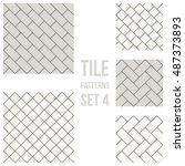 set of thin line seamless... | Shutterstock .eps vector #487373893