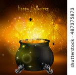 halloween witches cauldron | Shutterstock .eps vector #487375873