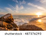 beautiful sunset at southern... | Shutterstock . vector #487376293