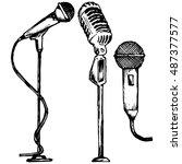 set microphone. vector... | Shutterstock .eps vector #487377577