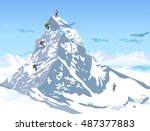 climbers ascend the mountain | Shutterstock .eps vector #487377883