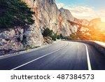 beautiful asphalt road.... | Shutterstock . vector #487384573
