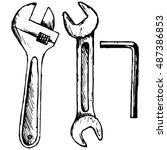 adjustable wrench  spanner....   Shutterstock .eps vector #487386853