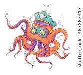 vector illustration of orange... | Shutterstock .eps vector #487387417