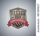 vintage emblem of barber shop   Shutterstock .eps vector #487389817