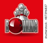 bowling  red | Shutterstock .eps vector #487396837