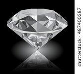 realistic shining white diamond ... | Shutterstock .eps vector #487400287