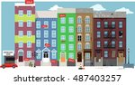 urban street view with... | Shutterstock .eps vector #487403257