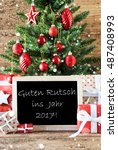 colorful tree with guten rutsch ...   Shutterstock . vector #487408993
