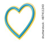 yellow blue plastic heart... | Shutterstock . vector #487411243