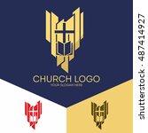 church logo. christian symbols. ... | Shutterstock .eps vector #487414927