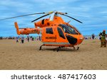 Small photo of Skegness-England 09 August 2015, Air Ambulance helicopter during medical emergencies rescue on the beach in Skegness. Editorial photo.