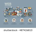 flat web design template of one ... | Shutterstock .eps vector #487426813