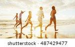 group of friends having fun... | Shutterstock . vector #487429477