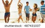 group of friends having fun... | Shutterstock . vector #487431037