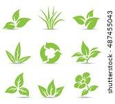 illustration of green leaves... | Shutterstock . vector #487455043