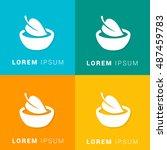 vegan food four color material... | Shutterstock .eps vector #487459783
