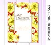 vintage delicate invitation...   Shutterstock .eps vector #487497223