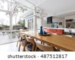 scandinavian styled dining room ... | Shutterstock . vector #487512817