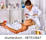 woman middle aged in spa salon... | Shutterstock . vector #487513867