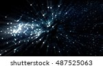 a soft zoom particle background. | Shutterstock . vector #487525063
