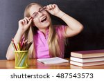 girl studying in the school... | Shutterstock . vector #487543573