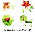 creative vegetable food snack... | Shutterstock . vector #487566547
