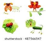 creative vegetable food snack... | Shutterstock . vector #487566547