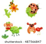 creative vegetable food snack... | Shutterstock . vector #487566847