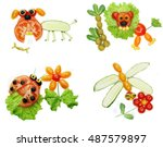 creative vegetable food snack... | Shutterstock . vector #487579897