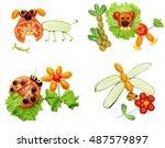 creative vegetable food snack... | Shutterstock . vector #487579897