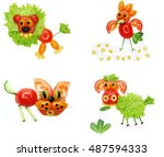 creative vegetable food snack... | Shutterstock . vector #487594333
