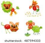 creative vegetable food snack... | Shutterstock . vector #487594333