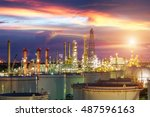 oil and gas industry   refinery ...   Shutterstock . vector #487596163