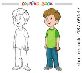 coloring book or page. outline... | Shutterstock .eps vector #487599547