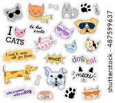 fashion patch badges. cat and... | Shutterstock .eps vector #487599637