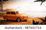 retro car on a beach at... | Shutterstock . vector #487601713