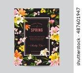 vintage floral colorful frame   ... | Shutterstock .eps vector #487601947