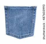 Small photo of Blue jeans back side pocket in close up view on white isolated background with copy space. Clothes concept to present denim texture classic style fashion.