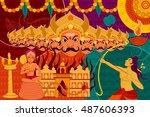 vector illustration of happy...   Shutterstock .eps vector #487606393